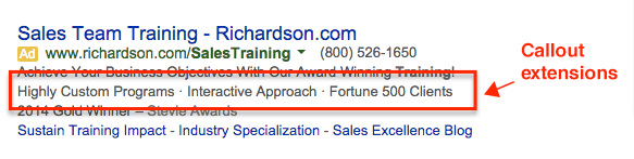 Callout ad extensions on Google
