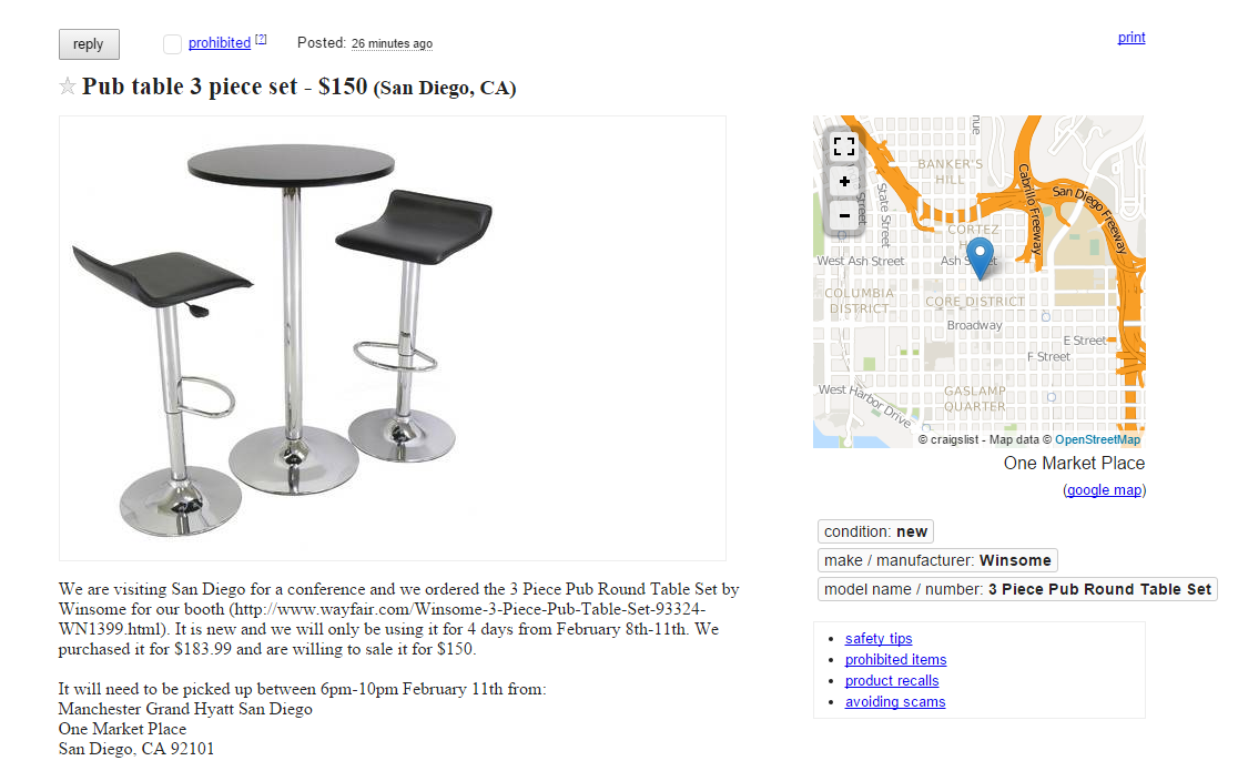 selling booth furniture